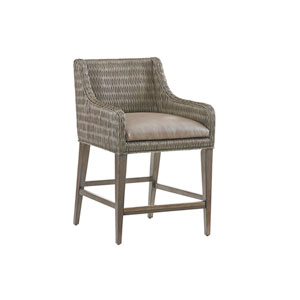 Cypress Point Smoke Gray and Brown Turner Woven Counter Stool