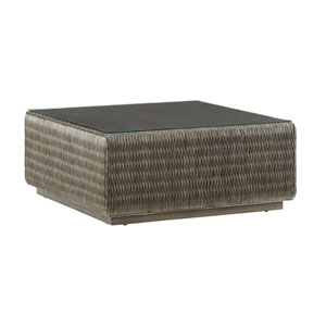 Cypress Point Smoke Gray Seawatch Woven Cocktail Table with Tempered Glass Top