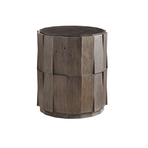 Cypress Point Smoke Gray Everett Round Travertine End Table