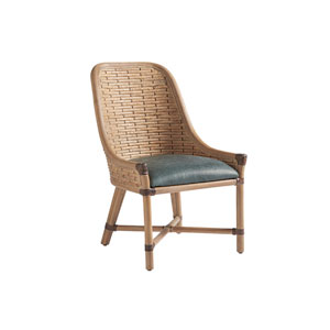 Los Altos Gold and Green Keeling Woven Side Chair