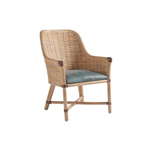 Los Altos Gold and Green Keeling Woven Arm Chair