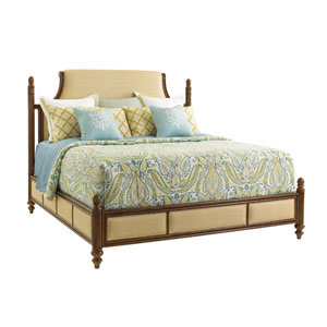 Bali Hai Brown and Beige Orchid Bay Upholstered King Panel Bed