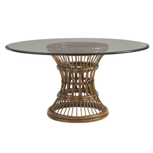 Bali Hai Brown Latitude Dining Table with 60 In. Glass Top