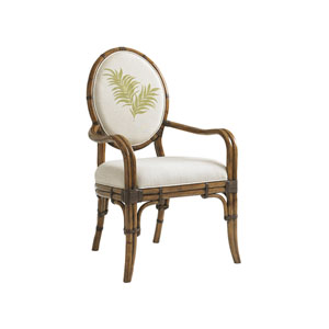 Bali Hai Brown, Ivory and Green Gulfstream Oval Back Arm Chair