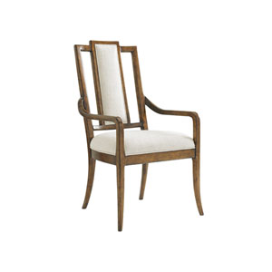 Bali Hai Brown and Ivory St. Barts Splat Back Arm Chair