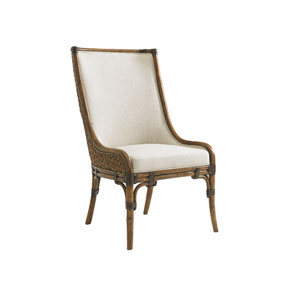 Bali Hai Brown and Ivory Marabella Upholstered Side Chair