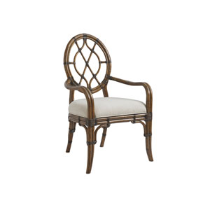 Bali Hai Brown and Ivory Cedar Key Oval Back Arm Chair