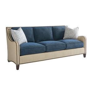 Twin Palms Beige and Blue Koko Sofa