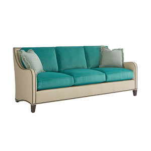 Twin Palms Beige and Turquoise Koko Sofa