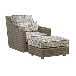 Cypress Point Smoke Gray and Beige Hayes Ottoman