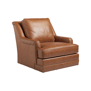 Los Altos Brown Benton Leather Swivel Chair