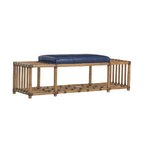 Twin Palms Brown and Blue Seafarer Leather Bench