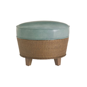 Twin Palms Brown and Blue Lago Mar Leather Ottoman