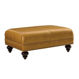 Tommy Bahama Upholstery Gold Bahai Leather Ottoman