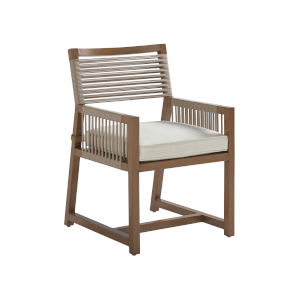 St Tropez Natural Teak Weather Resistant Aluminum Arm Dining Chair