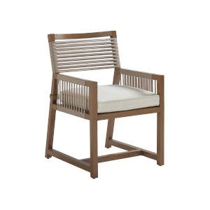 St Tropez Natural Teak Weather Resistant Aluminum Arm Dining Chair