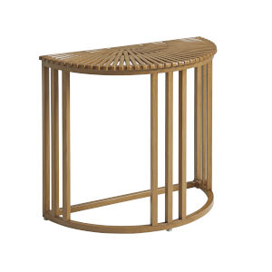 St Tropez Natural Teak Demilune End Table
