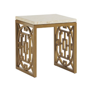 Los Altos Valley View Brown and Ivory Rectangular End Table