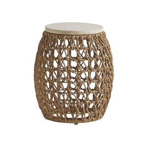 Los Altos Valley View Brown and Ivory Round Side Table