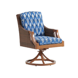 Harbor Isle Brown and Blue Swivel Rocker Arm Dining Chair