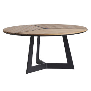 South Beach Dark Graphite and Light Brown Round Dining Table