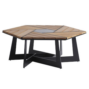 South Beach Dark Graphite and Light Brown Hexagonal Cocktail Table