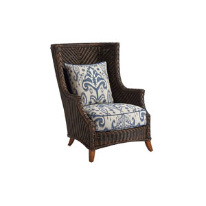 Island Estate Lanai Brown and Blue Wing Chair