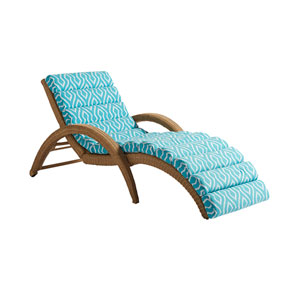 Aviano Mocha and Blue Chaise Lounge