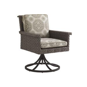 Blue Olive Brown Swivel Rocker Dining Chair
