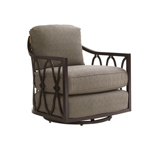 Royal Kahala Black Sands Dark Brown and Taupe Swivel Chair