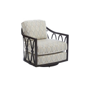 Royal Kahala Black Sands Dark Brown and Ivory Swivel Chair