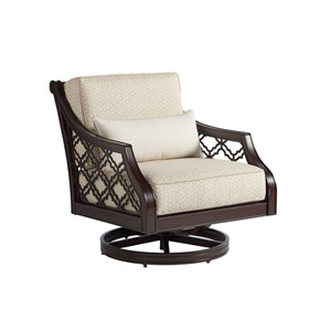 Royal Kahala Black Sands Dark Brown and Ivory Swivel Rocker Chair