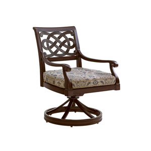 Royal Kahala Black Sands Dark Brown and Gold Swivel Rocker Dining Chair