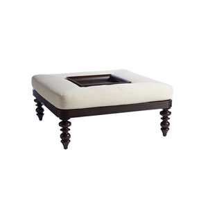 Royal Kahala Black Sands Dark Brown and White Cocktail Ottoman with Tray