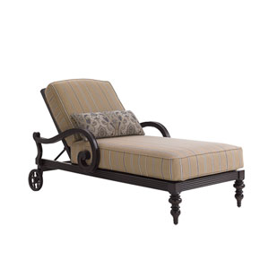 Royal Kahala Black Sands Dark Brown and Taupe Chaise Lounge