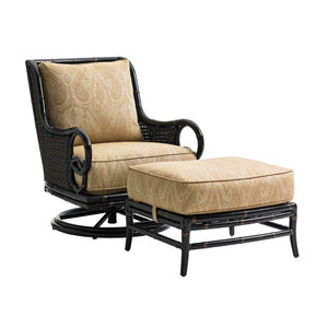 Marimba Black and Gold Swivel Rocker Lounge Chair