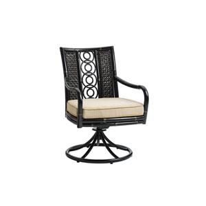Marimba Black and Beige Swivel Rocker Dining Chair