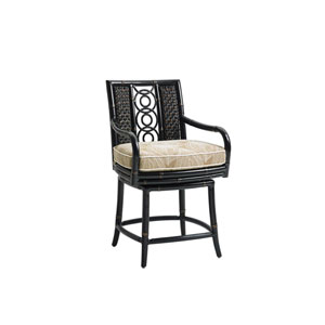 Marimba Black and Beige Swivel Counter Stool