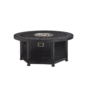 Marimba Black Gas Fire Pit- Dual Source