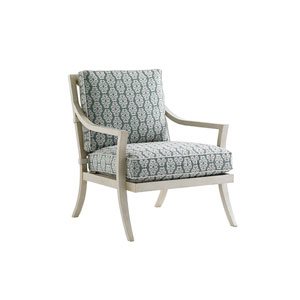 Misty Garden Ivory and Blue Lounge Chair