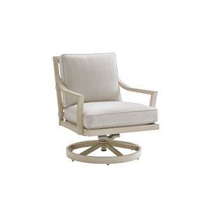 Misty Garden Ivory Swivel Rocker Lounge Chair
