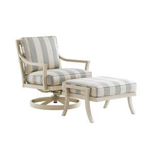 Misty Garden Ivory and Green Swivel Rocker Lounge Chair