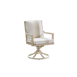 Misty Garden Ivory and Beige Swivel Rocker Dining Chair