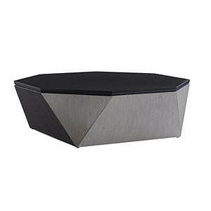 Del Mar Gray and Black Octagonal Cocktail Table