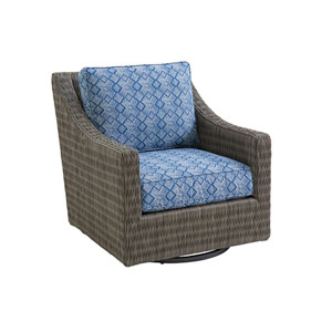 Cypress Point Ocean Terrace Brown and Blue Swivel Glider Lounge Chair