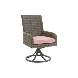 Cypress Point Ocean Terrace Brown and Red Arm Dining Chair Swivel Rocker