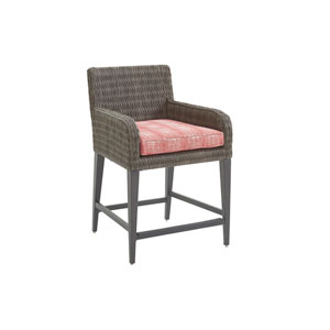Cypress Point Ocean Terrace Brown and Red Counter Stool