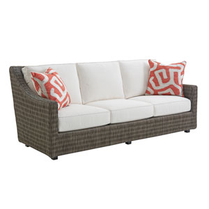 Cypress Point Ocean Terrace Brown and White Short Sofa