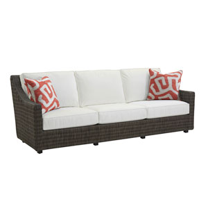 Cypress Point Ocean Terrace Brown and White Long Sofa with Red Pillows