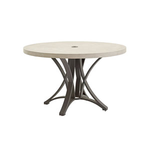 Cypress Point Ocean Terrace Aged Iron and Ivory 48 In. Dining Table with Weatherstone Top